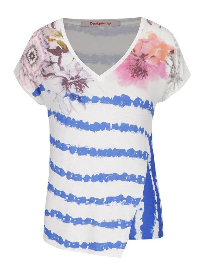 Tricou crem & albastru Desigual Cellia cu model floral