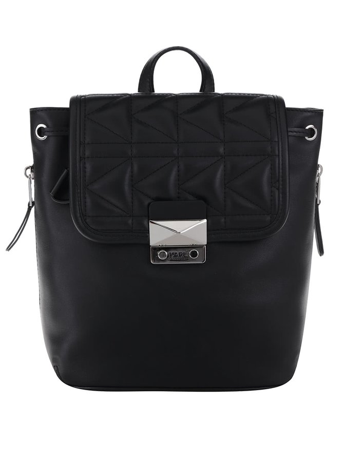 Černý kožený batoh s prošívanou klopou KARL LAGERFELD