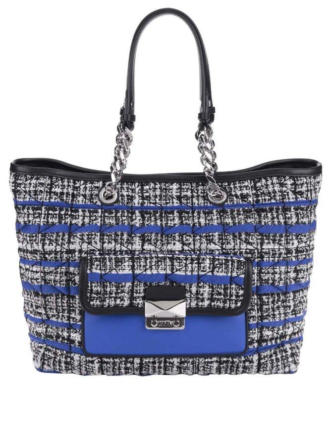 Modro-bílo-černý prošívaný shopper s koženými detaily KARL LAGERFELD