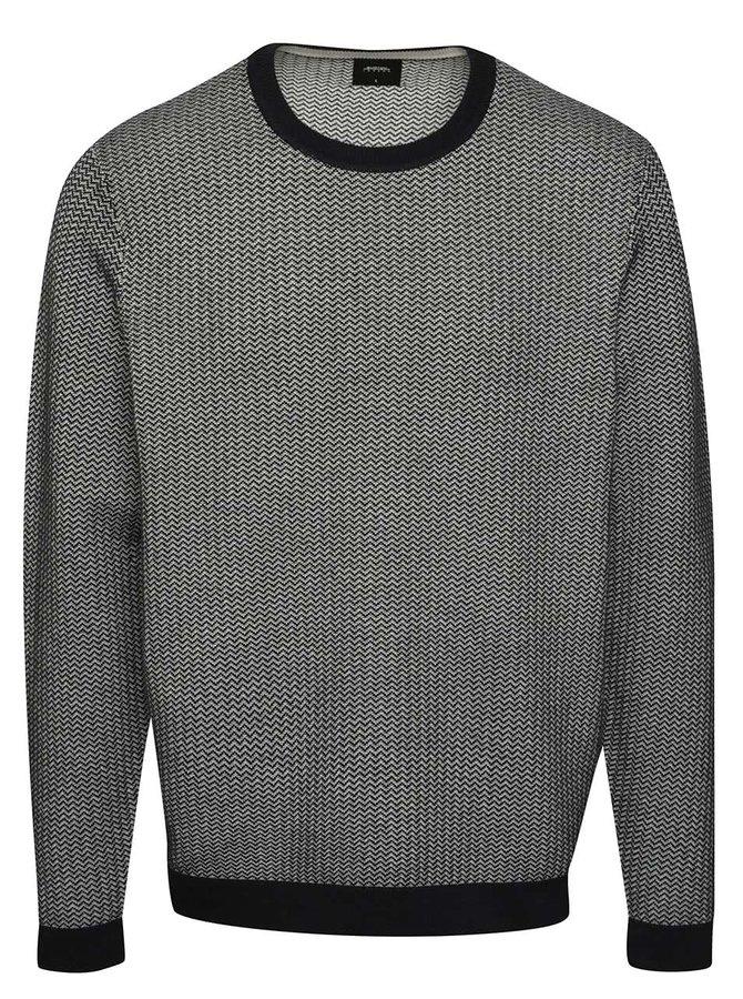 Pulover crem&albastru Burton Menswear London cu model discret