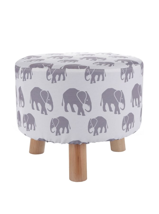 Taburet crem Dakls cu model elefanți