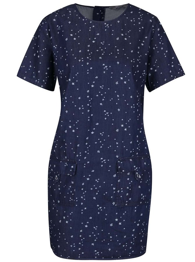Tmavě modré džínové šaty s drobným vzorem Dorothy Perkins