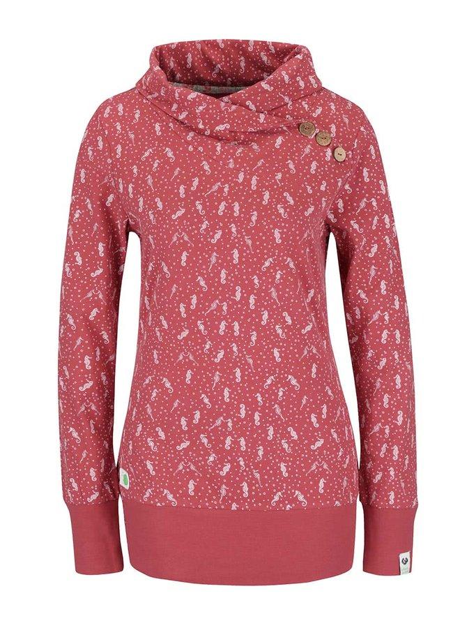 Bluză roșu teracotă Ragwear Nest A Organic regular fit din bumbac organic cu model