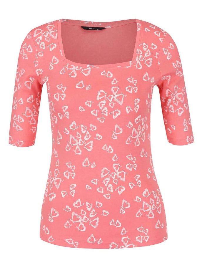 Bluză roşu corai M&Co cu croi mulat şi decolteu pătrat