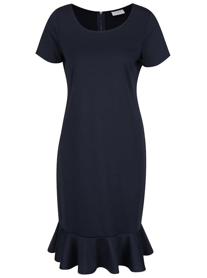 Tmavě modré šaty s volánem VILA Hemruffle