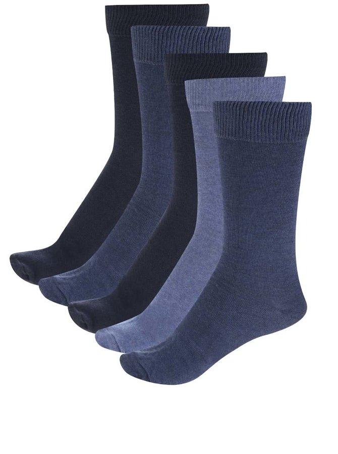 Sada pěti párů pánských ponožek v modré barvě M&Co