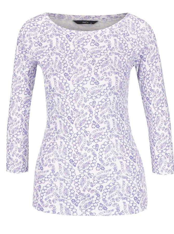 Bílo-modré dámské vzorované tričko M&Co