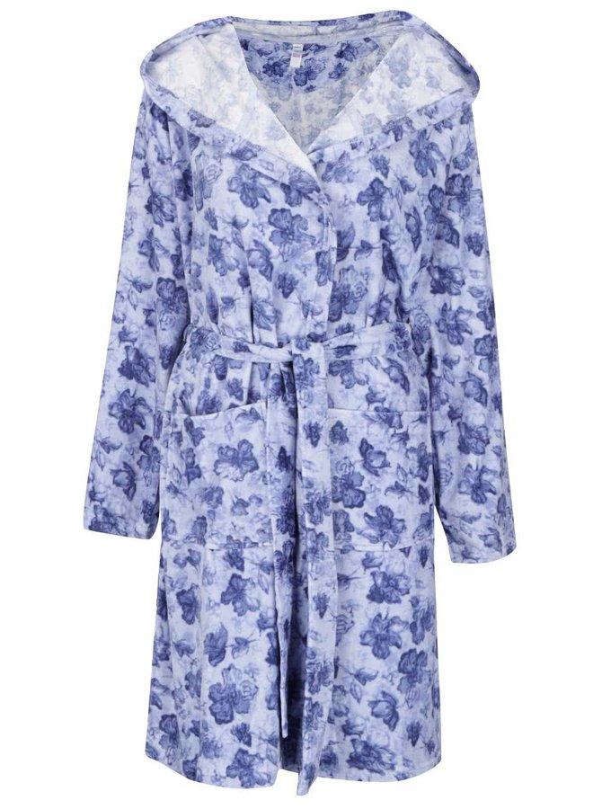 Modrý dámský květovaný župan M&Co