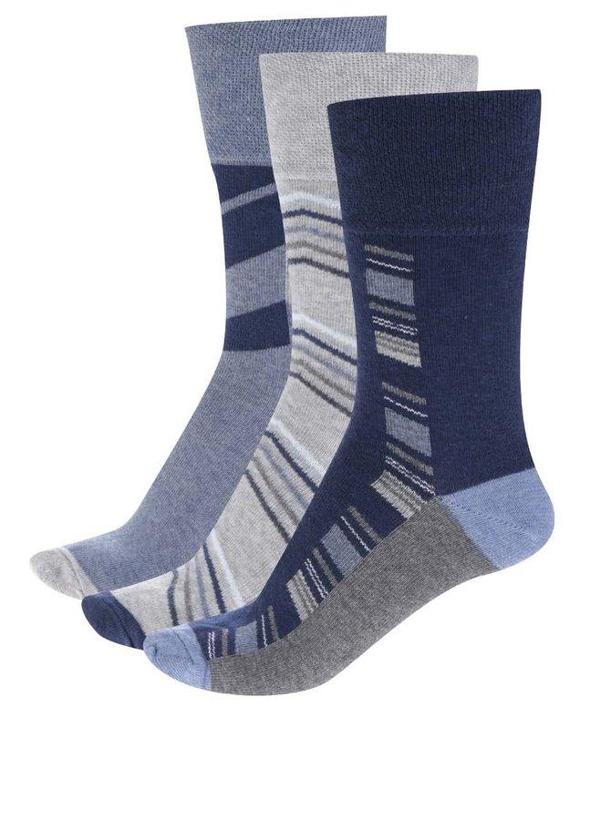Sada tří párů pánských ponožek v modré barvě M&Co