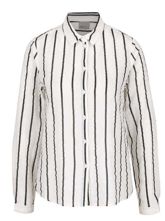 Černo-krémová pruhovaná košile s příměsí lnu VERO MODA Stripy