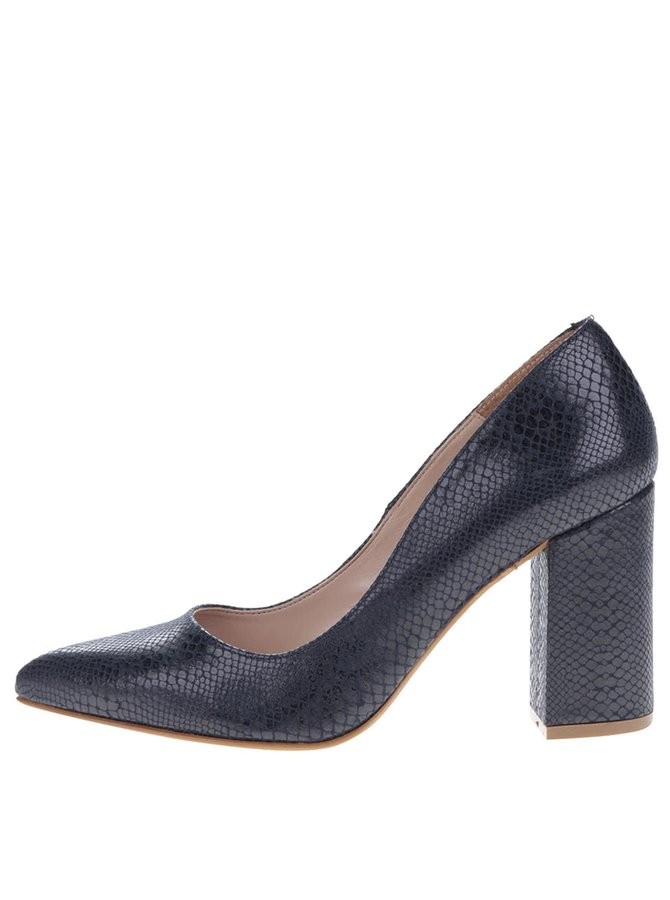 Pantofi albastru închis cu toc OJJU cu model piele de șarpe