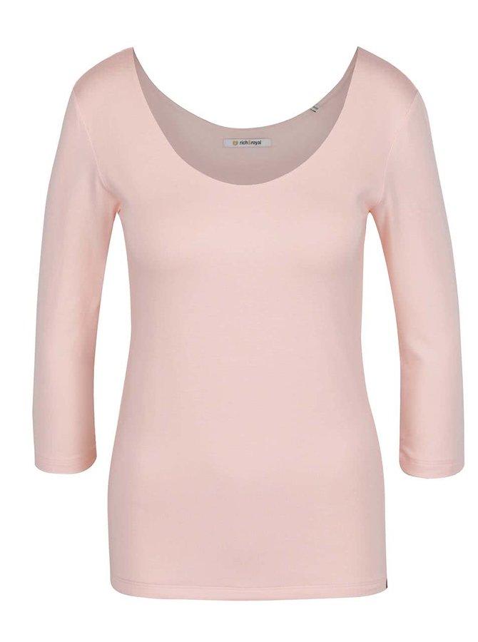 Bluză roz deschis Rich & Royal cu mâneci trei sferturi