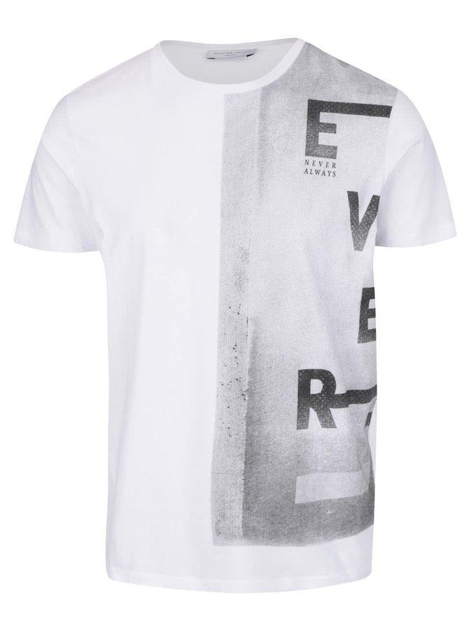 Tricou alb Selected Young Ever din bumbac cu print