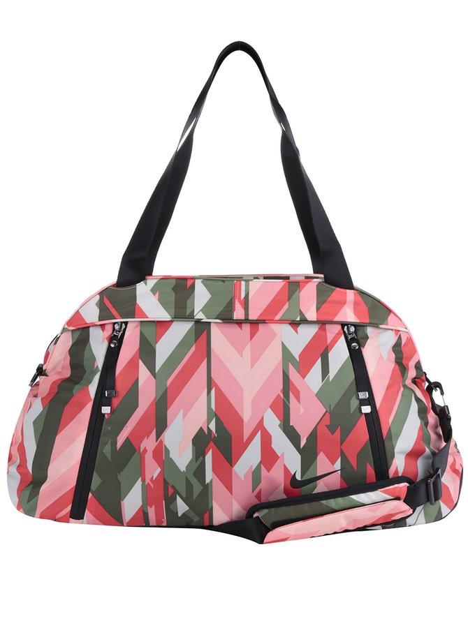 Zeleno-růžová dámská sportovní vzorovaná taška Nike 23 l