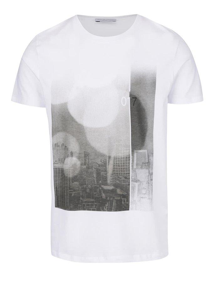 Bílé triko s potiskem Selected Homme Young Begin