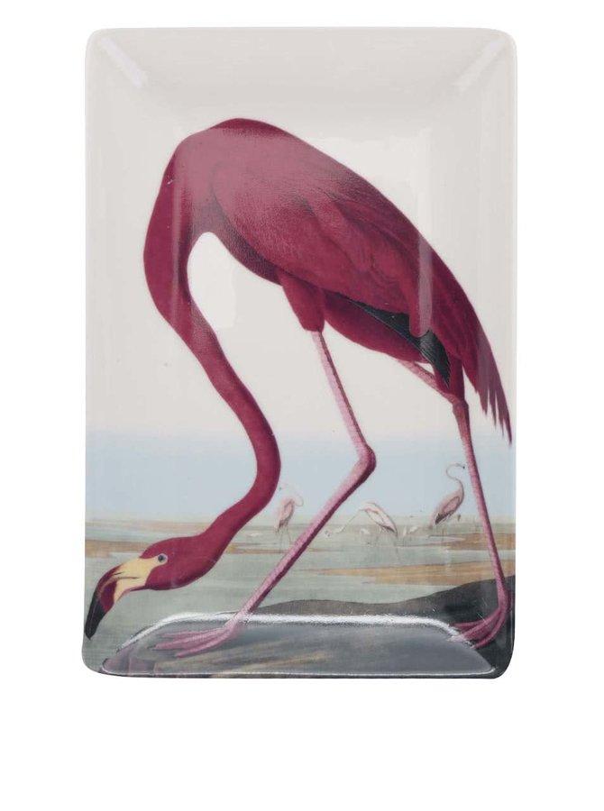 Červeno-krémová porcelánová miska s potiskem Magpie Birds
