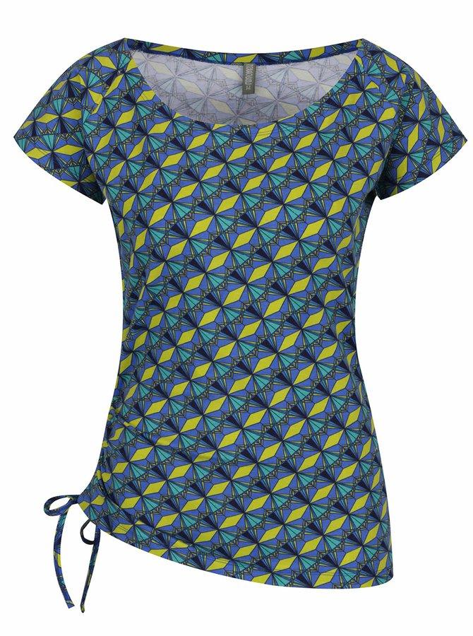 Modré vzorované tričko se stahováním Tranquillo Laila