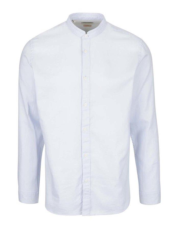 Světle modrá slim fit košile bez límečku Selected Homme One Jacque