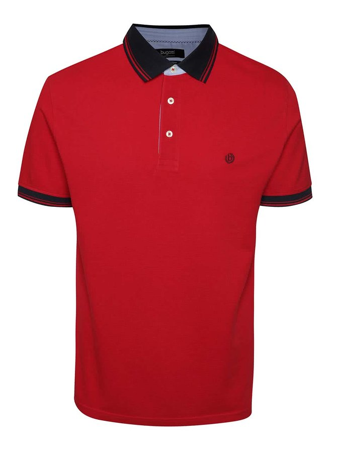 Tricou polo roșu bugatti din bumbac cu detalii bleumarin
