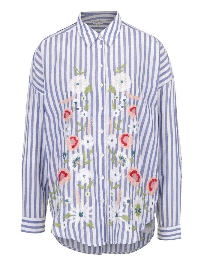 Krémovo-modrá pruhovaná košile s výšivkou Miss Selfridge