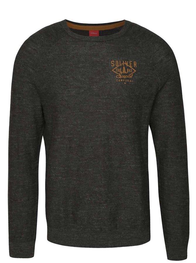 Bluză gri închis melanj s.Oliver din bumbac cu logo