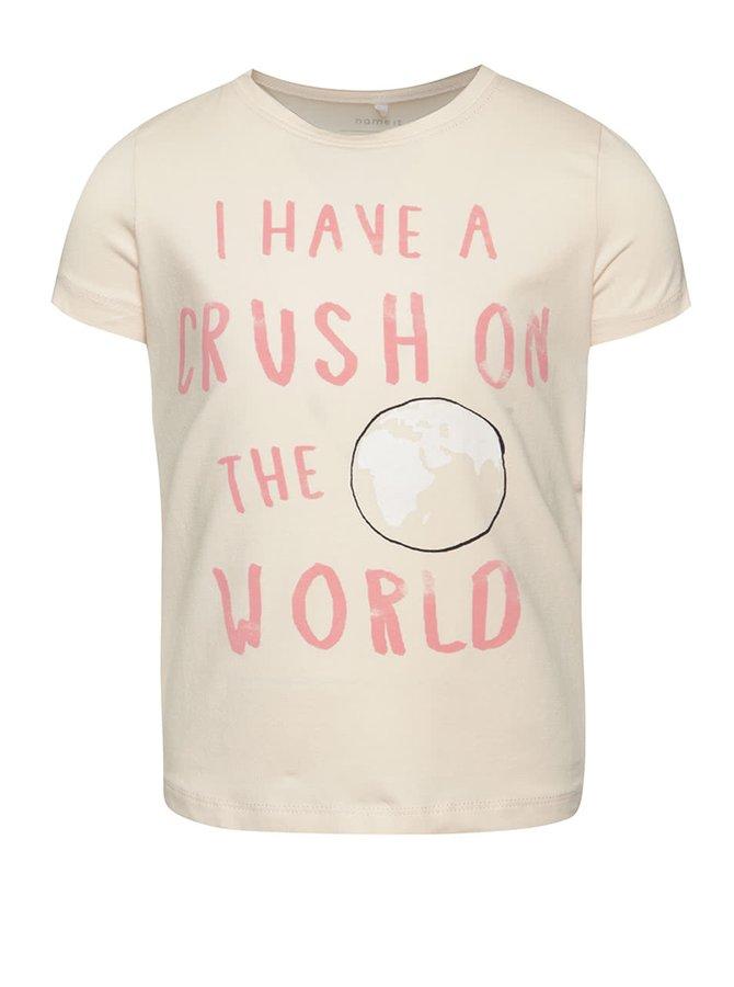 Světle růžové holčičí tričko s potiskem name it  Vixida