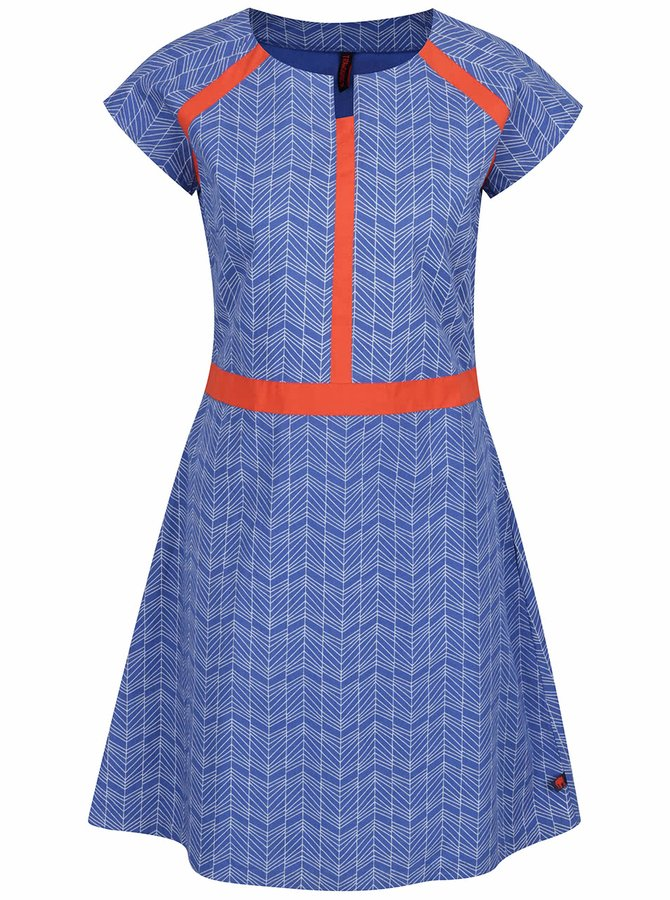 Rochie albastră Tranquillo Aris din bumbac organic cu model și detalii portocalii
