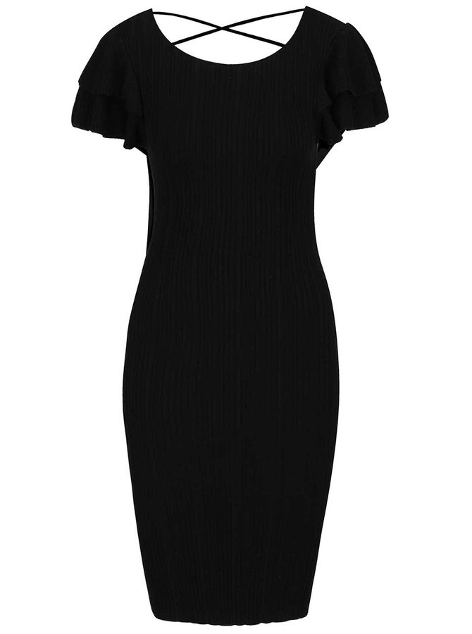 Černé žebrované svetrové šaty s volány Miss Selfridge