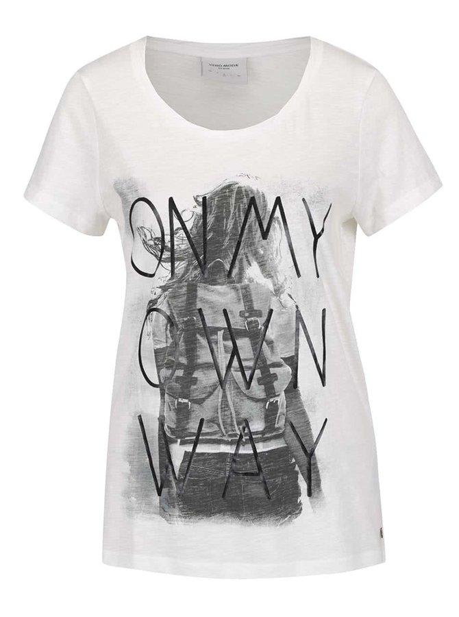 Krémové tričko s potiskem VERO MODA Tazmin