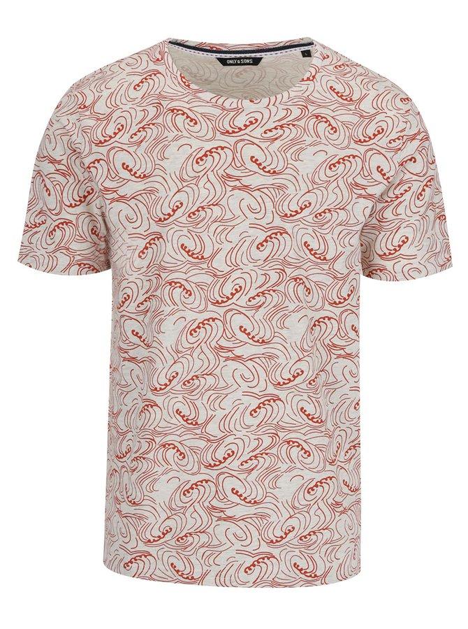 Šedo-červené vzorované triko ONLY & SONS Thor