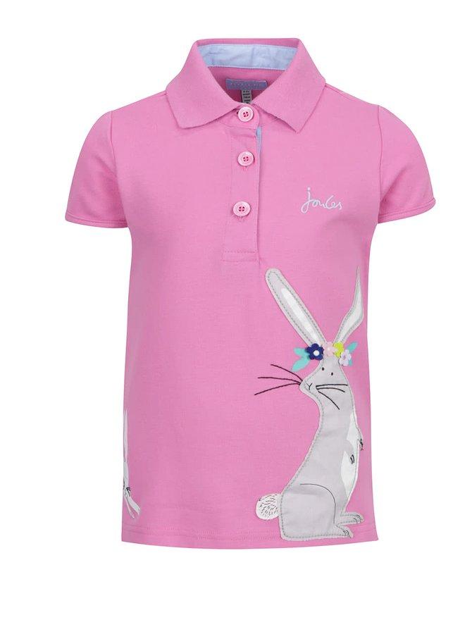 Růžové holčičí polo tričko s motivem králíků Tom Joule