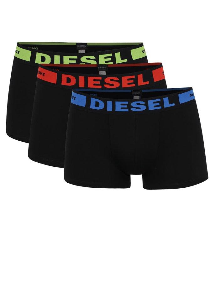 Set negru Diesel cu trei perechi de boxeri personalizați cu logo