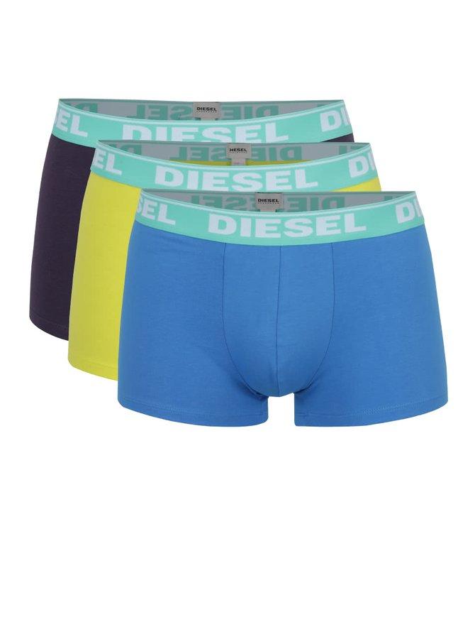Sada tří boxerek v modré, žluté a fialové barvě Diesel