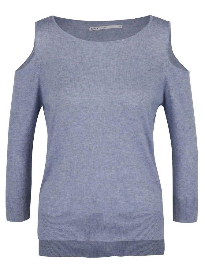 Modrý žíhaný svetr s průstřihy na ramenou ONLY Caprice