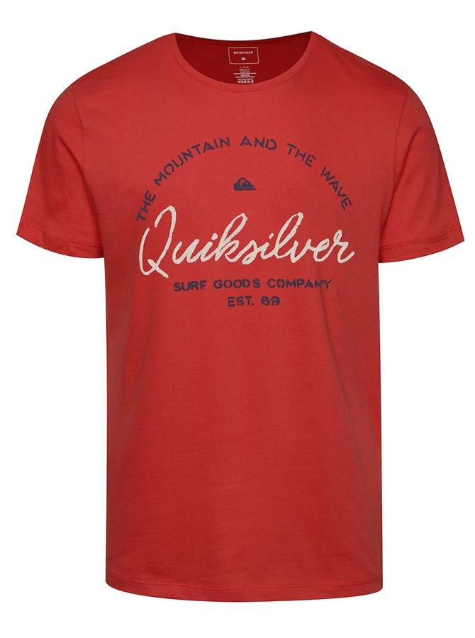 Tricou roșu Quiksilver din bumbac cu print