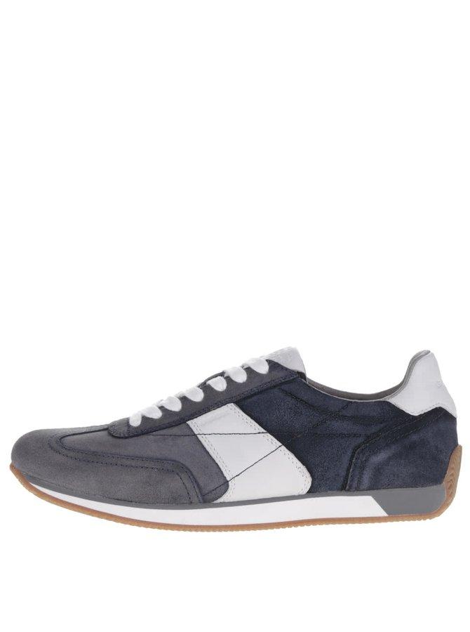 Pantofi sport alb & albastru Geox Vinto din piele întoarsă cu detaliu alb
