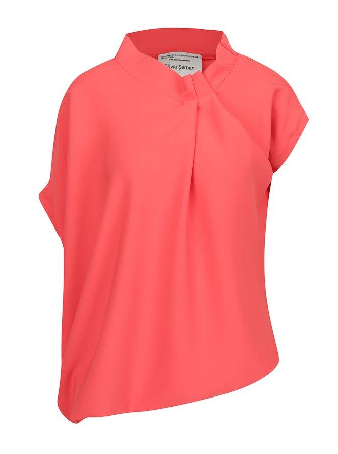 Bluză asimetrică roșu corai Silvia Șerban  cu mâneci scurte