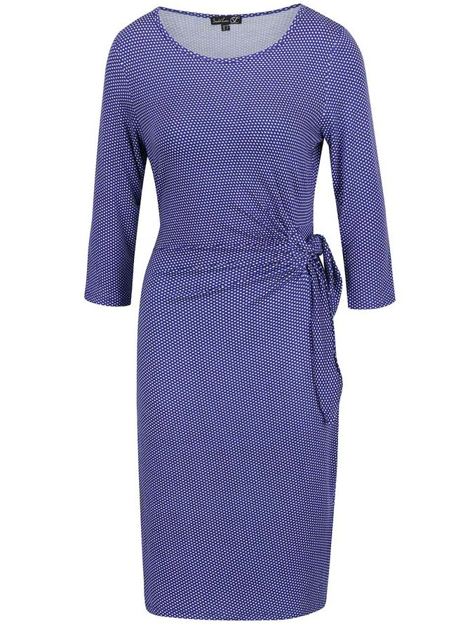 Modré puntíkované šaty s vázáním v pase Smashed Lemon
