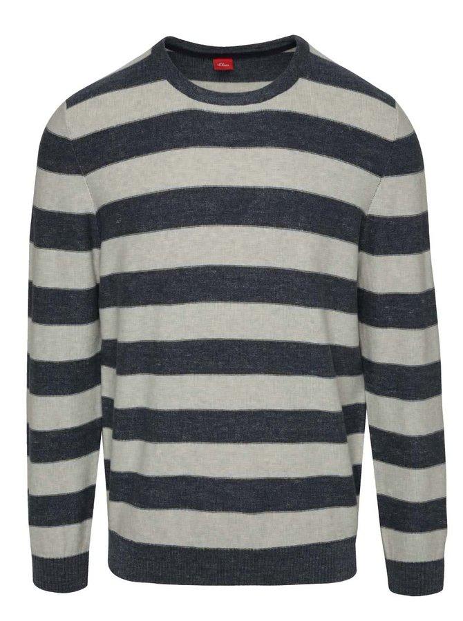 Krémovo-modrý pruhovaný svetr s.Oliver