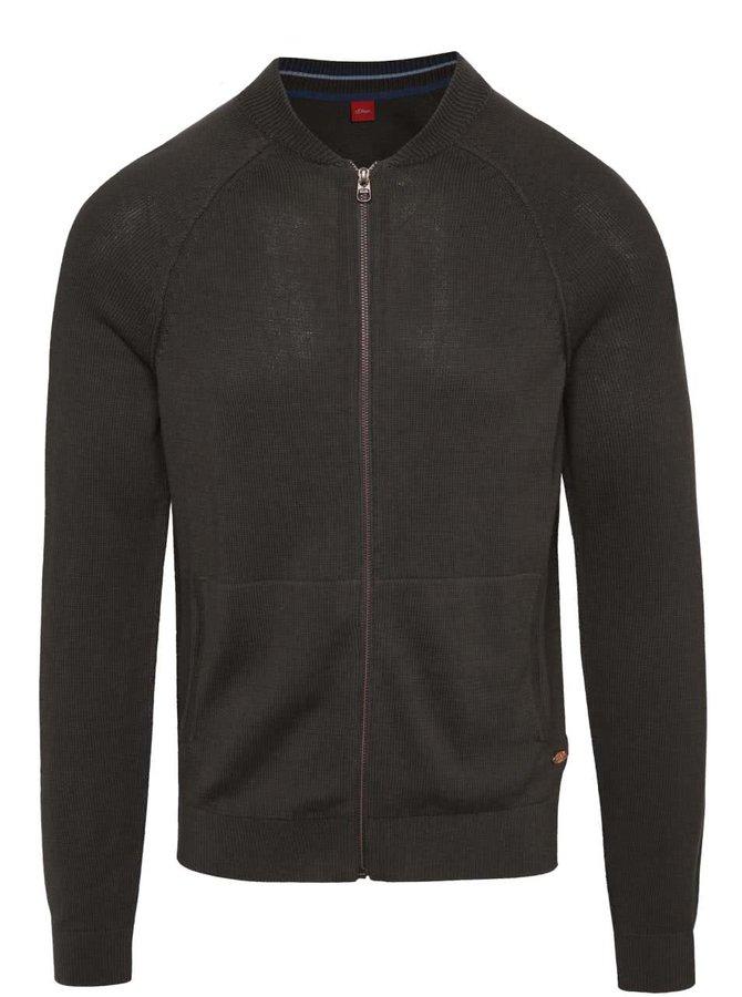 Tmavě šedý svetr na zip s.Oliver