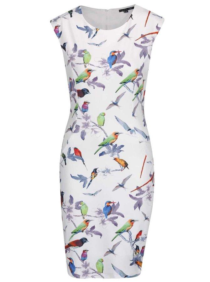 Krémové květované šaty s potiskem ptáků Smashed Lemon