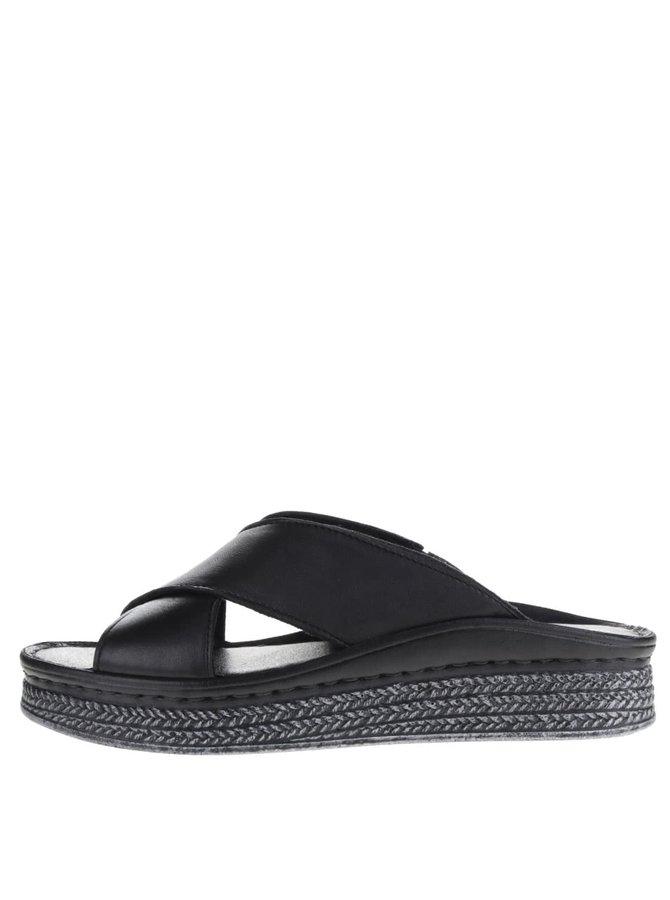 Papuci negri cu platformă Tamaris din piele