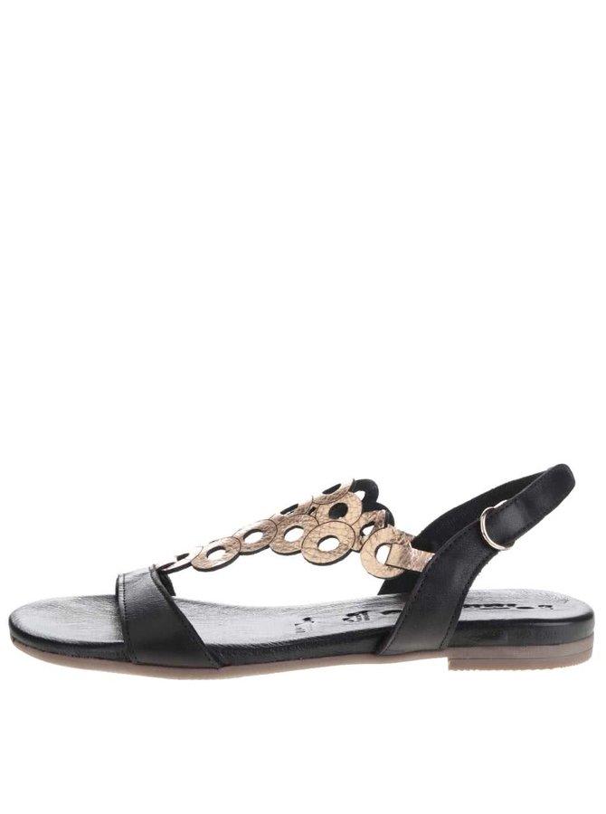 Sandale negre Tamaris din piele cu detaliu geometric auriu