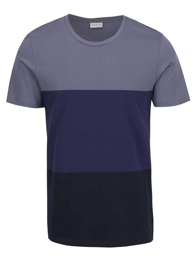 Šedo-modré pruhované triko Jack & Jones