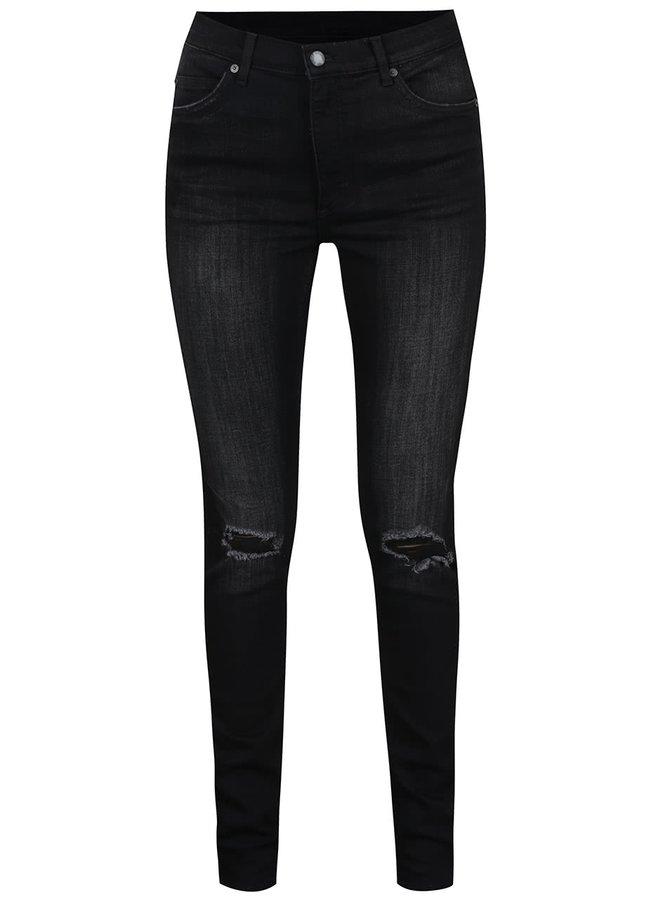 Černé dámské skinny džíny s vysokým sedem Cheap Monday