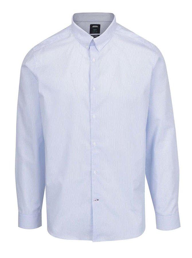 Cămașă crem & albastru deschis Burton Menswear London din bumbac cu model în dungi