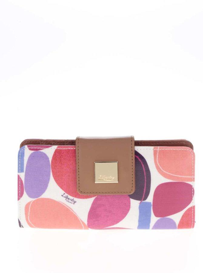 Krémová peněženka s barevným potiskem a koženými detaily Liberty by Gionni Paulina
