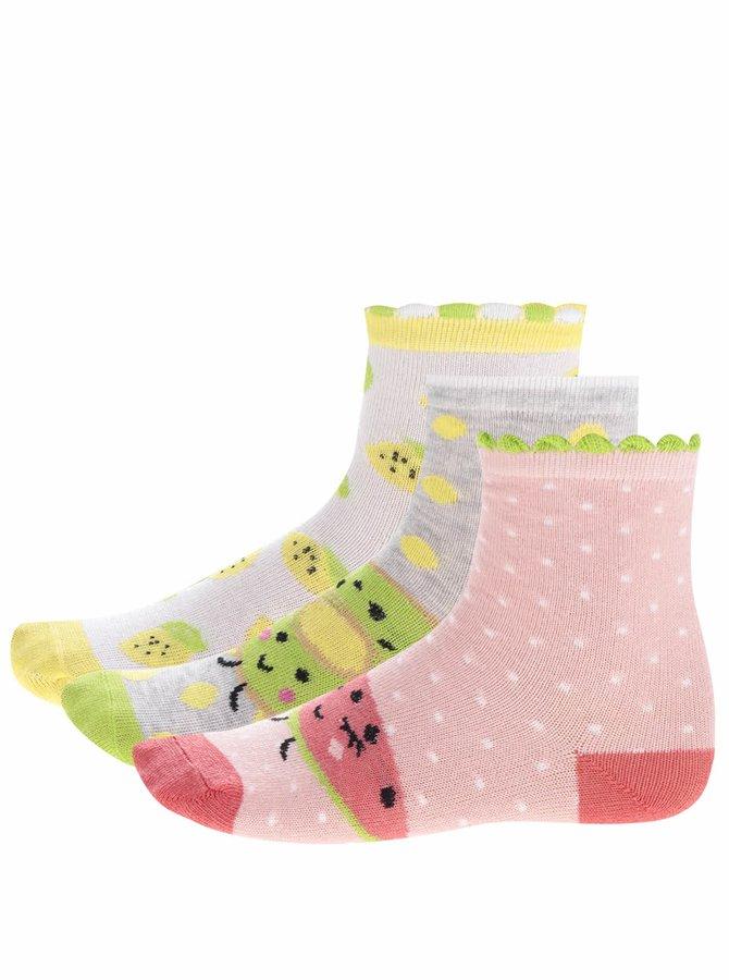 Sada tří párů šedo-růžových holčičích ponožek s motivem ovoce 5.10.15.