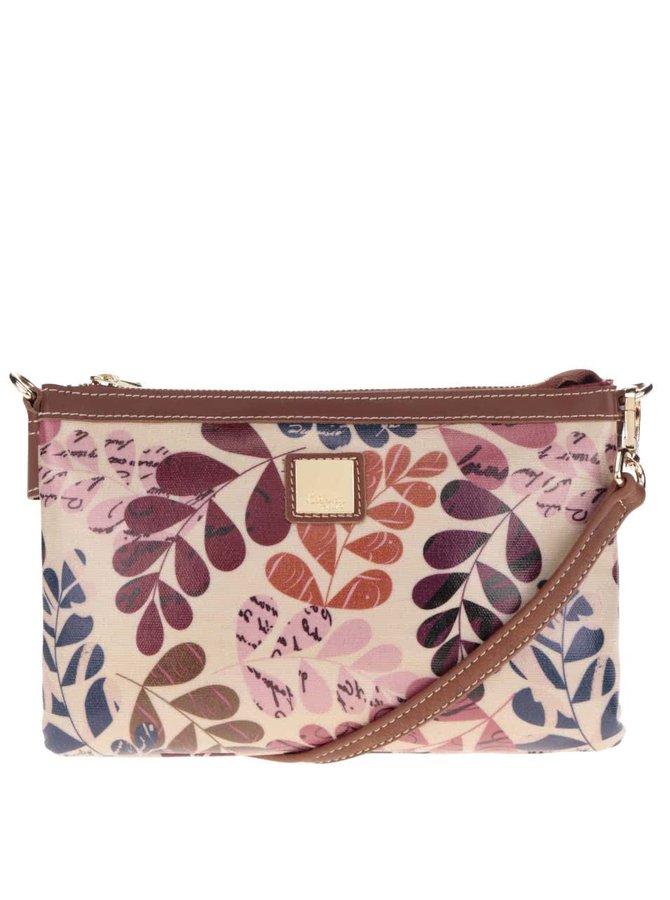 Hnědá květovaná crossbody kabelka s koženými detaily Liberty by Gionni Lea