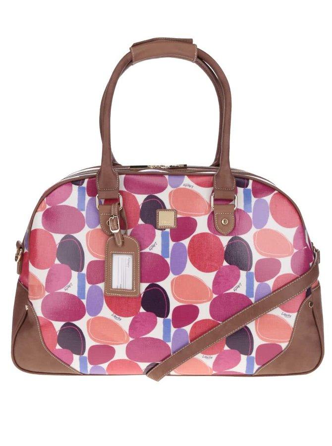 Krémová cestovní taška s barevným potiskem a koženými detaily Liberty by Gionni Paulina